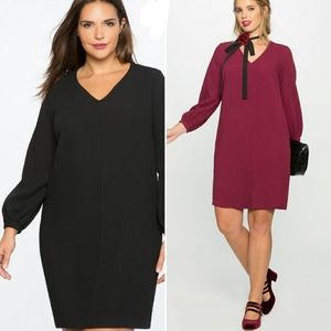 Eloquii Midi Dress Black V-Neck Long Sleeve 24